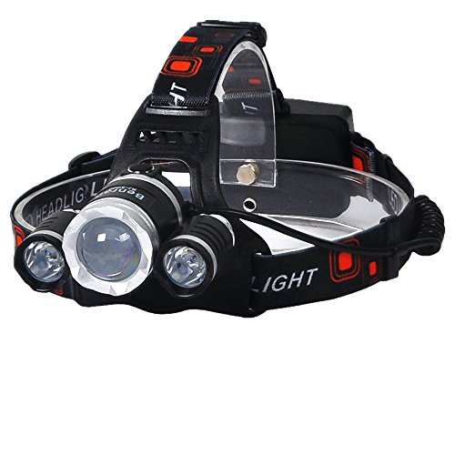 Camping Headlamps CREE 3 T6 5000 Lumen Focus Zoom Lights Lamp Zoomable Super Bright,Headlight Bicycle LED Flashlight,4 Modes,USB Rechargeable Batteries,Adjustable (silvery Zoom Lights)