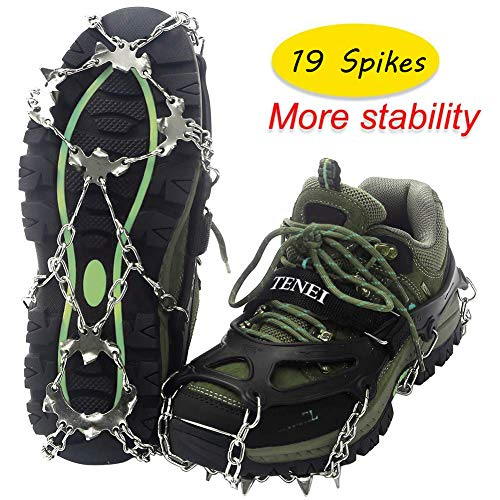 Tenei Crampons Microspikes Traction Cleats Ice Snow Grips Ice Cleats with 19 Spikes for Walking, Jogging, Climbing and Hiking on Snow, Ice, Mud, Sand and Wet Grass (Best Ice Cleats For Walking)