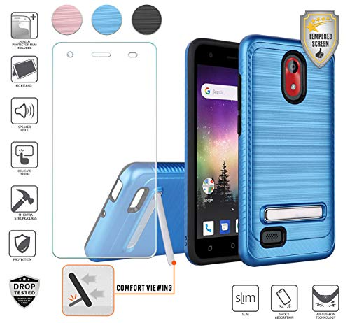 (Compatible for Coolpad Illumina 3110a Case with Stand, with Tempered Glass Screen Protector, Premium Tough Armor Shield Metallic Brushed Design Hybird Dual Layer [Shockproof] [Kickstand] (Blue))