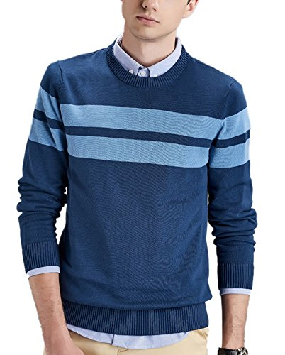 Men's Fashion Slim Fit Crew Neck Striped Knit Pullover Sweater Blue XL (Sweater Crewneck Striped Lambswool)