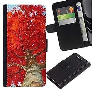 A-type (Tree Birch Red Leaves Nature) Colorida Impresión Funda Cuero Monedero Caja Bolsa Cubierta Caja Piel Card Slots Para Sony Xperia Z3 Compact / Z3 Mini (Not Z3)