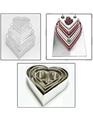 Set of 4 Tier Heart Multilayer Birthday Wedding Anniversary Cake Tins / Pans / Mould by Falcon