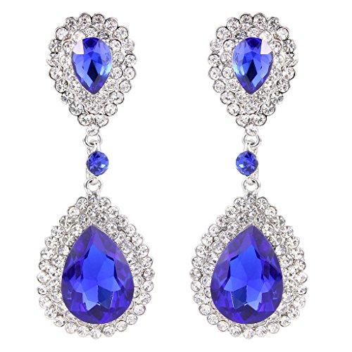 Beaded Earrings Teardrop - BriLove Women's Fashion Wedding Bridal Crystal Teardrop Infinity Beaded Dangle Earrings Royal Blue