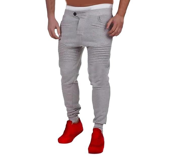 Pantalones Hombre Jogger Entrenamiento Fitness Deporte Pantalon Color Sólido Casuales Basicas Slim Fit Cómodos Pantalón para
