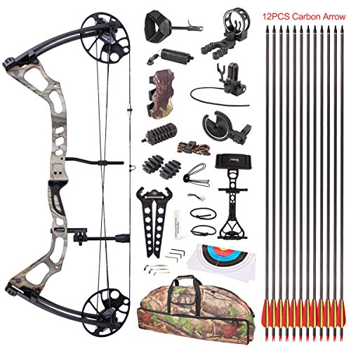 Leader Accessories Compound Bow 25-70lbs 19 - 31 Archery Hunting Equipment with Max Speed 300fps, Right Handed