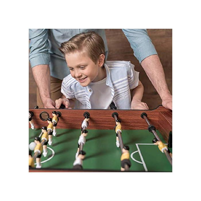 51VieY4ZavL SET SET DE JUEGO VERSÁTIL: la mesa de futbolín del tamaño de una competencia brinda diversión en cualquier entorno, perfecta para salas de juegos en el hogar, salas de juegos y otras áreas de entretenimiento, brinda una mejor experiencia de juego. DISEÑO AMIGABLE PARA EL JUGADOR: cuenta con 8 filas para permitir 4 filas por equipo, 11 jugadores rojos y 11 jugadores blancos, así como un portavasos en cada extremo para mantenerse hidratado cuando la competencia se calienta. H MANIJAS ECONÓMICAS: Las barras de barra tienen agarres cómodos para controlar mejor la pelota, incluidas 2 bolas que se deslizan sobre la superficie lisa y sin fricción para esa goa ganadora del juego.