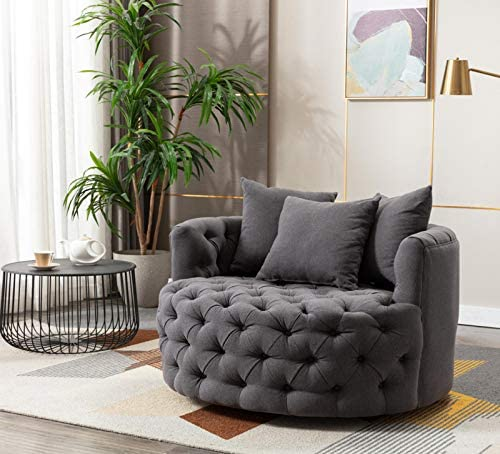 ZAILHWK Modern Accent Chair,Accent Lounge Swivel Barrel Chair 42.9 Linen 360 Swivel Accent Chair Barrel Chair Family Room Sofa Furniture