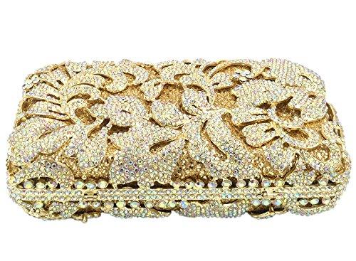 Clutch Pochette Sac Maquillage Fête Bourse à gold Mariage Chaîne Femme Soirée Main Bandouliere Sac Bal qZntF1v