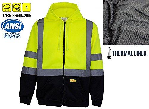 New York Hi-Viz Workwear H6612 Men's ANSI Class 3 High Visibility Sweatshirt, Full Zip Hooded, Black Bottom, Fleece (Lime, Extra large)