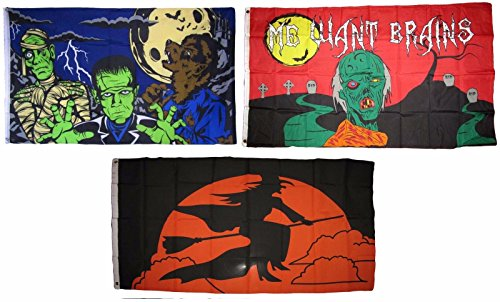ALBATROS 3 ft x 5 ft Happy Halloween 3 Pack Flag Set #30 Combo Banner Grommets for Home and Parades, Official Party, All Weather Indoors -