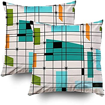 TOMWISH 2 Packs Hidden Zippered Pillowcase Retro Grid and starbursts Outdoor 20X20Inch,Decorative Throw Custom Cotton Pillow Case Cushion Cover for Home