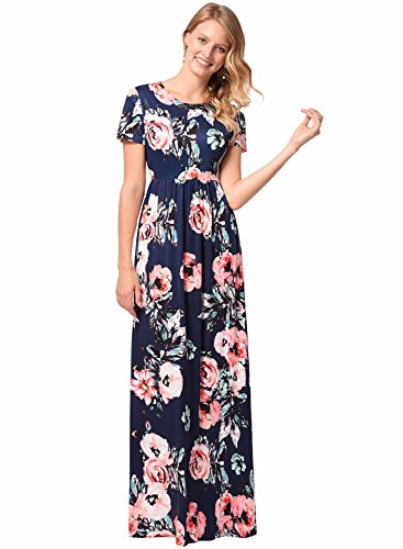Silk Pleated Dress (Women's Short Sleeve Evening Party Long Floral Silk Pleated Vintage Maxi Dress Navy M)