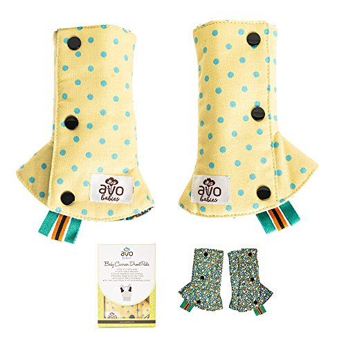 AVO Babies Beautiful Reversible Drool Suck Teething Pads Protect Carrier Straps Cover Washable Chew Pads with Toy Tags Premium Soft Cotton for Baby Carriers Car Seat Strap Pads Infants (Sparco Seat Accessories Fabric)