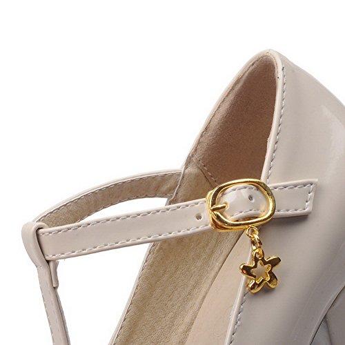 Légeres Chaussures Couleur Rond Boucle Haut Unie AgooLar Talon Femme Verni Beige à v7qngA4a