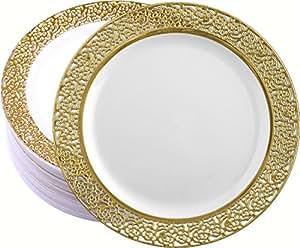 Decor Elegant Disposable Premium Heavy Weight 10.25u0026quot; Dinner Plates Inspiration Gold u0026 White  sc 1 st  Amazon.com & Amazon.com: Decor Elegant Disposable Premium Heavy Weight 10.25 ...