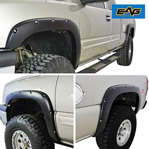 - EAG E-Autogrilles Black 99-06 Chevrolet Silverado/GMC Sierra Pocket Rivet Style Fender Flares Wheel Cover Fits 6.5 & 8 ft Bed (19290)
