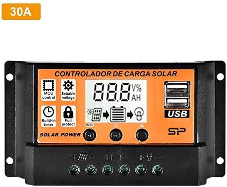 waysad Solarladeregler, MPPT Solarregler 10-50A / 100A Intelligenter automatischer Solarpanel-Regler, Dual-USB-Spannungsregler-Ladegerät, 12V24V-Netzteil