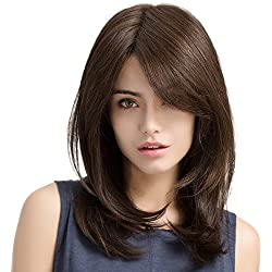 """Asifen Charming Long Straight Wigs for Women Daily Use Natural and Healthy 20"""" Brown"""