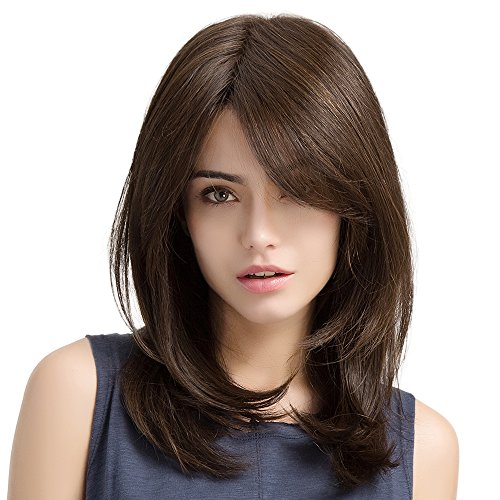 (HAIRCUBE Lace Front Wigs for Women L Part Natural Curly Synthetic Wigs 20 Inch Color Brown)
