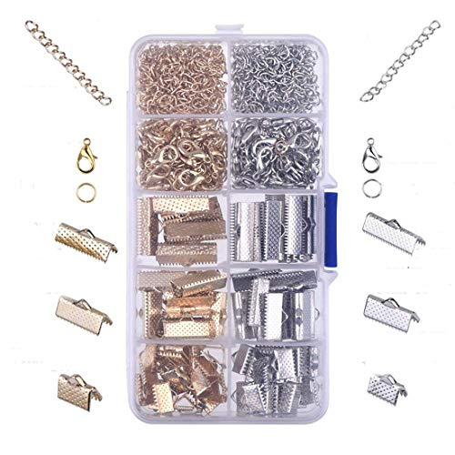 - Hraindrop 370 Pieces Ribbon Bracelet Kit Bookmark Pinch Crimp Ends Lobster Clasps with Jump Rings and Chain Extenders