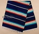 Rio Bravo Blanket -Old El Paso Mexican Serape Style Falsa Blanket -Southwestern Throw Blanket for Rustic Cabin, Lodge, Western Decor, Yoga, Travel, Sports or Wrap, 56''x74'' (Navy)