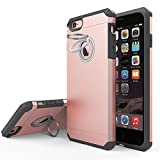 iPhone 6s Plus Case, IFCASE Silicone Shock Absorber Corner Heavy Duty Solid Armor Rose Gold Case for iPhone 6+/6s+ (5.5 inch) with Ring Kickstand