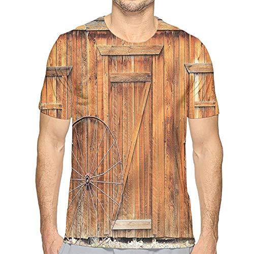 Jinguizi t Shirt Western,Ancient Rural Town Wheel Printed t Shirt XXL ()