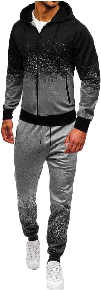 DressU Mens Lounge Hoodie Long Sleeve Gradients Zip 2 Piece Tracksuit Set