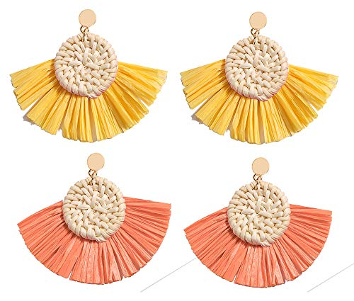 Allen&Danmi AD Jewelry Bohemia Style Spring Raffia Dangle Earrings Made with Woven Rattan for Women (2 Pairs-Yellow and Orange, Alloy)