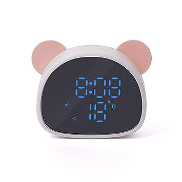 Umiwe LED Despertador Reloj de Alarma Digital Panda Reloj Digital Wake Up Light Despertador Infantil Función Snooze/Control por voz/Espejo Dual USB Reloj ...