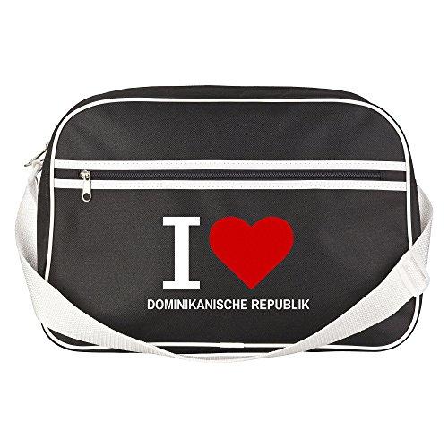 Retrotasche Classic I Love Dominikanische Republik schwarz