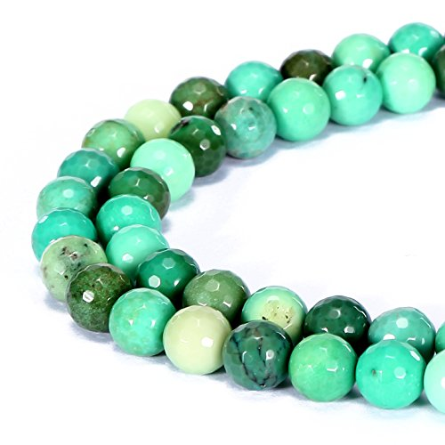 BRCbeads Gorgeous Natural Green Chrysoprase Agate Gemstone Faceted Round Loose Beads 8mm Approxi 15.5 inch 45pcs 1 Strand per Bag for Jewelry Making ()