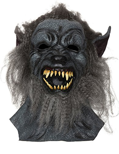 Adults Wolf Mask With Grey Hair Halloween Fancy Dress Costume