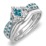 0.33 Carat (ctw) Sterling Silver Round Blue & White Diamond Marquise Shape Ring Set 1/3 CT (Size 8.5)