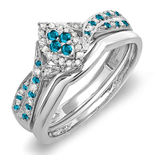 Dazzlingrock Collection 0.33 Carat (ctw) Sterling Silver Round Blue & White Diamond Marquise Shape Ring Set 1/3 CT, Size 7