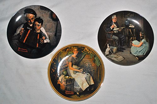 3 Piece Norman Rockwell Collector Set: Dreaming in the Attic, Music Maker, Storyteller