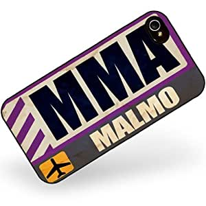Rubber Case for iphone 4 4s Airportcode MMA Malmo - Neonblond
