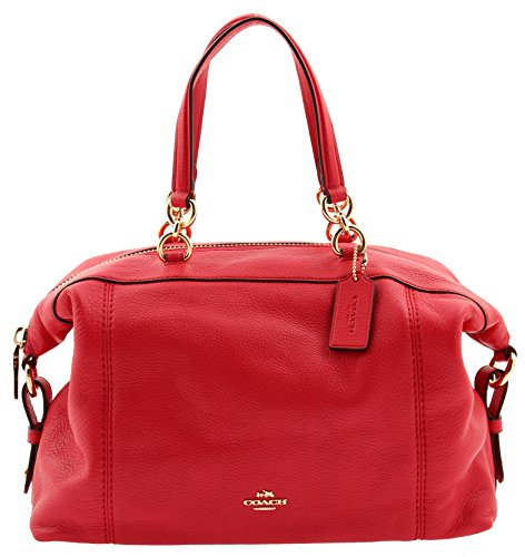 COACH Lenox Satchel in Pebble Leather in Bright Pink, - Lenox Store Outlet