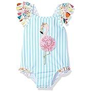 Mud Pie Baby Girls Flamingo Tassel One Piece Swimsuit, Blue, 9-12 Months