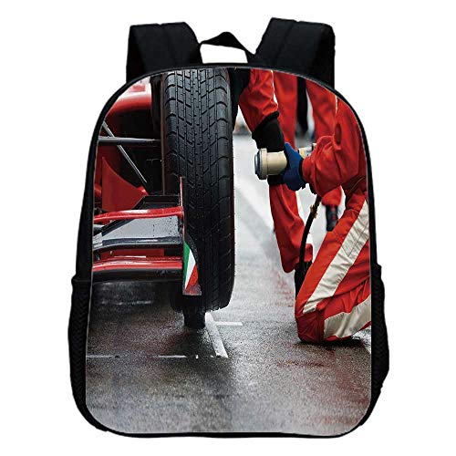 Man Cave Decor Fashion Kindergarten Shoulder Bag,Professional Racing Team at Work Pit Stop Racecar Fast Tyre Changing Image For - Car Pit Stop Race