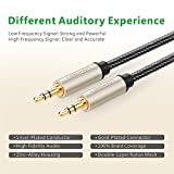(40ft/12m) 3.5mm Male to Male Auxiliary Aux Stereo Professional HiFi Cable with Silver-Plating Copper Core, Gold Plated, Nylon Braid, Tangle-Free for for Audiophile/Musical Lovers Silver10611