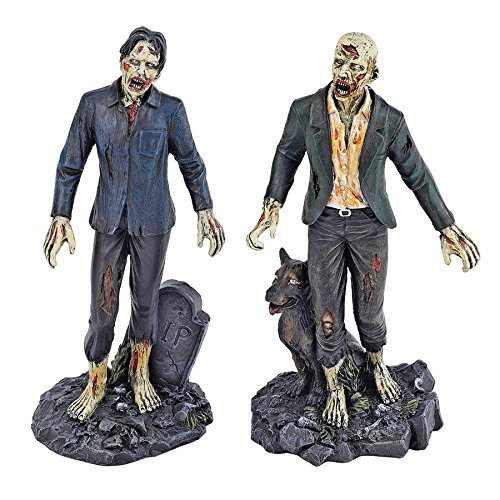 Design Toscano Dead Walking Zombies Gothic Decor Statues, 7 Inch, Set of Two, Zombie with Wolf and Tombstone, Polyresin, Full Color -