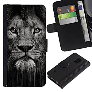 Billetera de Cuero Caso Titular de la tarjeta Carcasa Funda para Samsung Galaxy S5 V SM-G900 / lion powerful nature animal big cat / STRONG