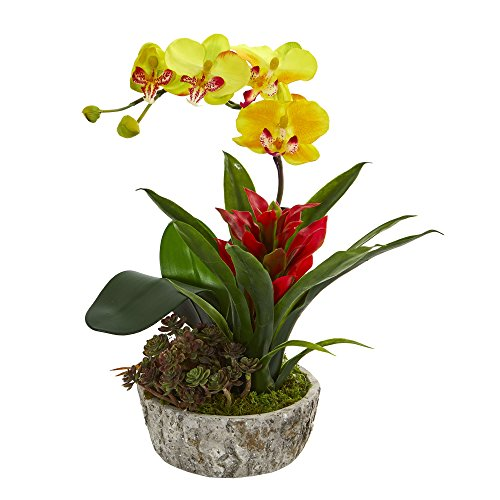 Nearly Natural 1606-YR Orchid, Bromeliad and Succulent Artificial Planter Silk Arrangements, Yellow/Red