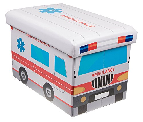 Premium White Ambulance Folding Ottoman Storage Organizer