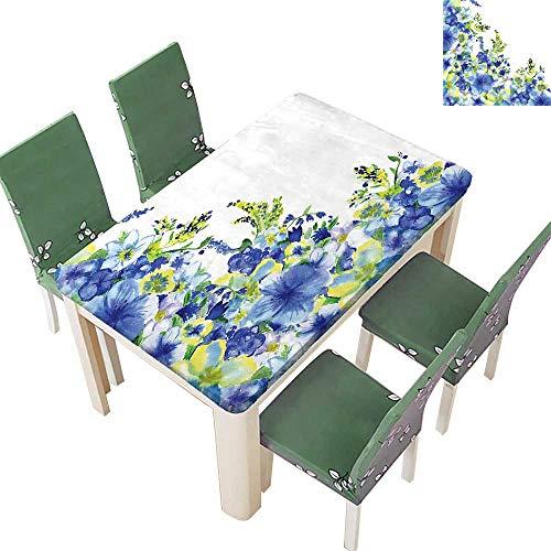 Printsonne Indoor/Outdoor Polyester Tablecloth Motley Floret Motifs Splash Iris Revival Theme Blue Yellow Wedding Party 54 x 120 Inch (Elastic Edge)