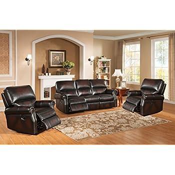 Amax Leather Brooklyn 3 Piece Leather Reclining Sofa Set, Burgundy Brown