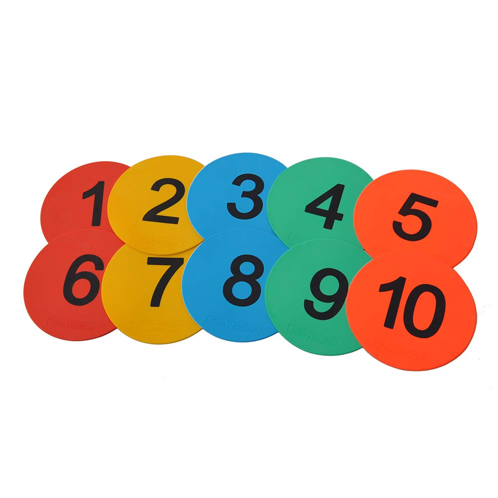 GSI Numbered Spot Markers Anti-Slip for Kids Learning Education Classroom Activities Games Sports Toy|Set of 1-10 Multicolour