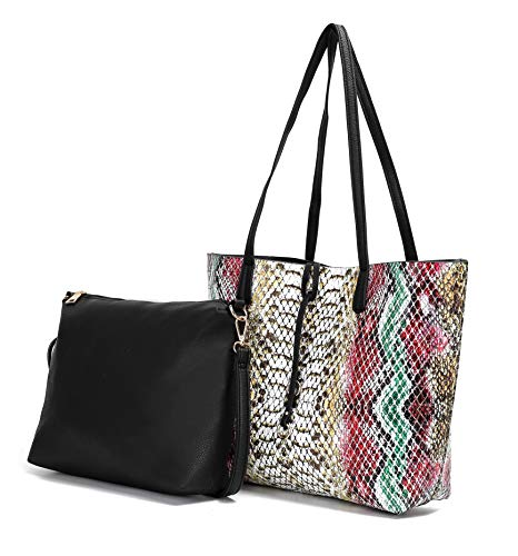Handbags for Women's Shoulder Bags Tote Satchel Soft Lightweight Snakeskin Hobo Top Handle Ladies Purse Set Large Capacity with pouch inside by MKCUTE (Multi)