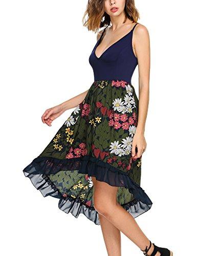Zeagoo Women Summer Holiday Beach Sleeveless V-neck Print High Low Casual Chiffon Dress